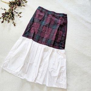 English Factory Tartan Plaid and White Midi Skirt